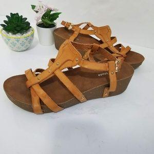 Top Moda Strappy Comfy Wedge Sandals Heels Sz 8.5